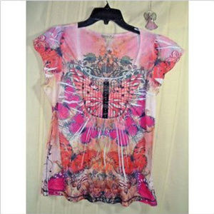Energie Womens Multi-Colored Butterfly Blouse Sz L